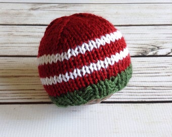 Newborn Christmas Hat, Knit Christmas Beanie, Synthetic Fiber, Knit Hat, Newborn Hat, Christmas Baby, New Baby, Baby First Christmas
