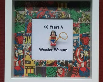 60th 50th 40th 30th 21st 18th Birthday present wonder woman minifigure framed gift Can be made to say 18th 21st 30th 40th 60thmade to order