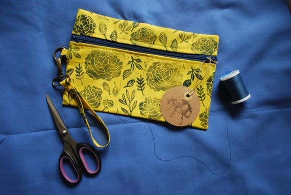 Floral Patterned Block Printed Wristlet // Hand Dyed Fabric // Yellow & Blue