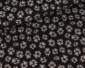 Cotton fabric of timeless treasures paw print grey black (13.90 EUR / meter)