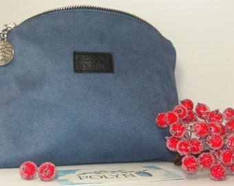 Cosmetic bag, Hand Made, Suede Leather, Color denim, Liting Ornament