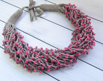 Fuchsia linen necklace,Textile necklace,Rustic,Multistrand necklace,Crochet beaded,Folk art,Ethnic boho,Jewelry bohemian, mothers day gift