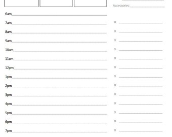 Day Planner Page- Printable