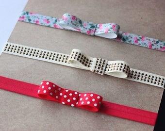 Tie Baby Headband Set - Ribbon Elastic Headband Set - Small Bow Headband - Ribbon Bow Headband - Newborn Headband - Simple Baby Headband