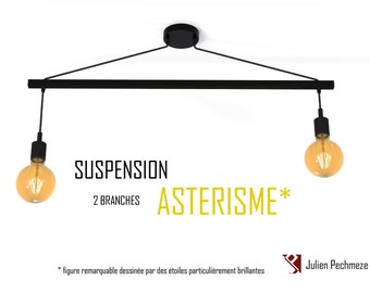 Pendant light Asterism* 2 bulbs, matte black scandinavian chandelier