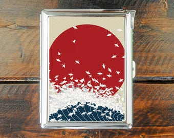 cigarette case vintage JAPAN sun wave and bird poster japanese style wallet card money holder cigarettes box