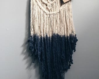Web//Handmade Dip Dyed Deep Indigo Boho Macrame Wall Hanging//OOAK//Ready To Ship