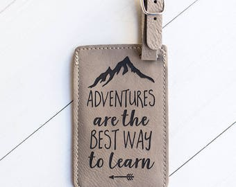 Adventure Luggage Tag, Gift for Adventurer, Outdoors, Mountains, Tag for Duffle Bag, Suitcase, Backpack, Leather Tag, Wilderness, Wild LT31