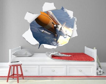 Space Shuttle Launch / Astronaut Wall Decals / Space Wall Decals - Port , Portal , Tear , Window , White , Brown,  View - TOU10009