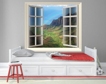 Hawaii Window Wall Decals / Tropical Island Decor / View of a Tropical Island Decor - TOUWD10029
