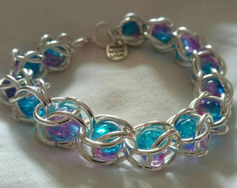 Lilac and blue marble chainmail cage bracelet, wedding, bridesmaid, friend, gift