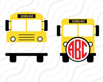 School Bus SVG, School SVG, School Bus Monogram SVG Cut table Design,svg,dxf,png Use With Silhouette Studio & Cricut_Instant Download