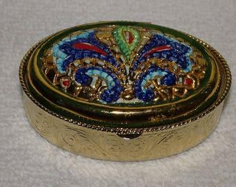 Gorgeous Vintage Hand Painted in Gold Enamel Trinket Box