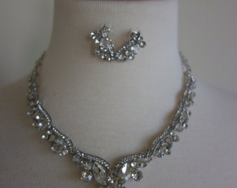 Bridal crystal  rhinestone jewelry set, Wedding necklace , Wedding jewelry, Rhinestone necklace