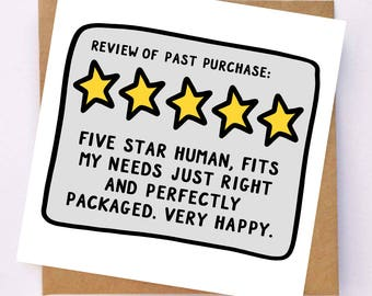Funny Anniversary Card For Husband - Funny Anniversary Card For Boyfriend - Cheeky Valentines Card - Funny Rating Card - Joke Review Card