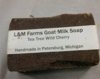 Tea tree wild cherry goat milk soap