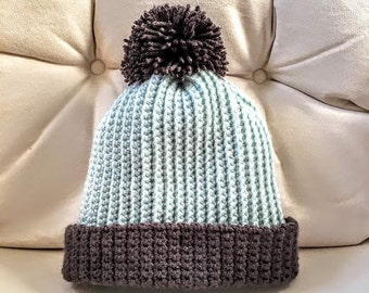 Blue and Gray Ribbed Crochet Beanie - Handmade Women's Winter Hat with Pompom and Rim - Great Gift or Stocking Stuffer!