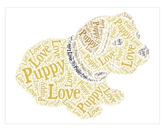 Puppy Love Word Cloud 4 Pack - Word Cloud Printables Downloads - For commercial and personal use
