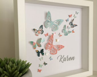 Personalised butterfly picture, 3D butterflies, butterfly wall art, butterfly decor, framed gift, gift for mum, gift for girls, bedroom art