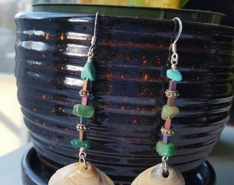 Sterling Silver Beaded Shell Earrings with Turquoise and Jade