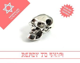 Evil Skull Bead, Silver Skull Bead, Extra Large Bead, Silver Large Bead, Large Paracord Bead, Extra Large Silver Bead, Skull Paracord Bead