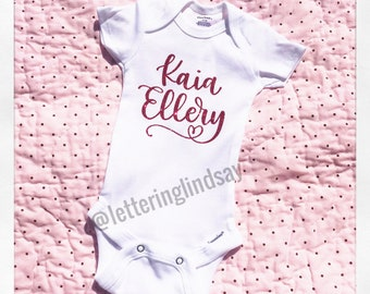Adorable sparkly body suit perfect for a baby shower gift, or outfit to introduce your new little one.