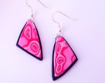 Triangle dangle earrings_unique handmade mokume gane polymer clay jewellery