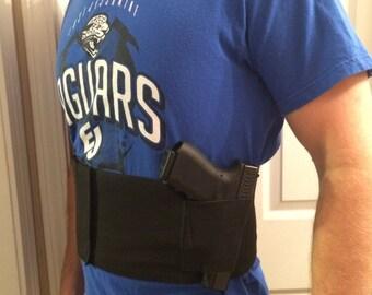 Tactical adjustable BELLY BAND waist pistol gun holster & 2 mag pouches