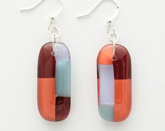 Dangle Earrings | Red and Blue | Glass Jewelry