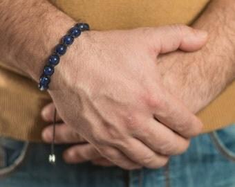 Blue Quartz men bracelet, beaded bracelet men. stress relief crystal, Blue quarzt bracelet