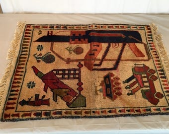 "Unique Area Rug with Military Symbols - from Foreign Country - 35"" X 23"" - FREE SHIPPING!"