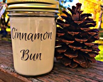50% off Discontinued Packaging! Cinnamon Bun 8oz. Jar Soy Candle
