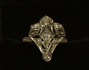 Art Deco (Downton Abbey) Engagement Ring or Wededing Ring