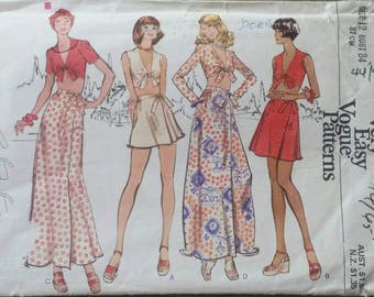 Very Easy Vogue Pattern 8602 Misses' Top and Skirt size 12 circa early 1970