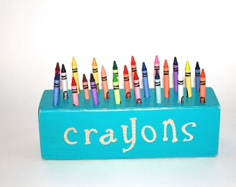 Block Crayon Holder, Crayon Storage, Art Supply Storage, Crayon Holder, Toddler Gift, Crafting Accessories, Craft Room Decor, Crayons