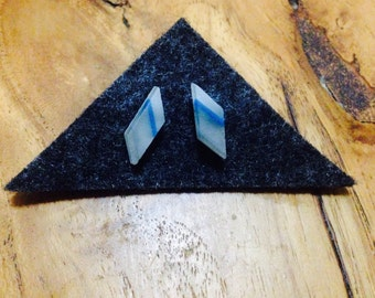 Blue detail Rhombus stud - kiln formed glass Y Series 1