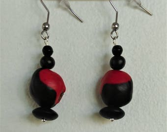 Natural Earrings: caconnier seed and coconut