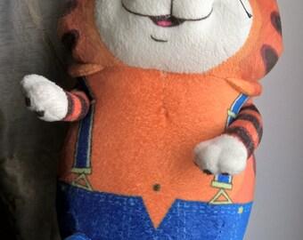 "Vintage Character Cat Soviet Cartoon "" Parrot Kesha "" Soft Baby Toy"