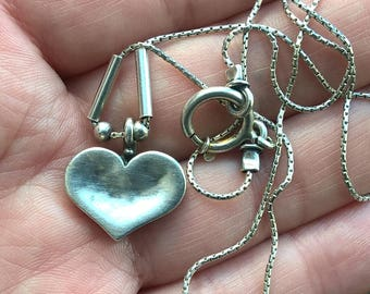 Vintage DIDAE Israel 925 Sterling Silver Chain Pendant Heart