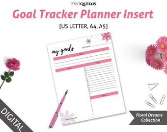 Goal Planner, Goal Tracker, Goal Setting, 2017 Printable Planner, Filofax A5 Inserts, Letterhead A4 A5 Planner Insert