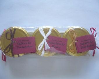 Cherry jam gift set, 3 small Fruchtaufstrich-Köstlichkeiten(Marmelade)