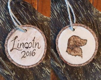 Custom Double-Sided Dog Silhouette Hanging Ornament