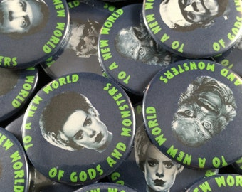 """Famous Monsters 1.50""""Pinback Button Pack Horror Movie Button Pack Classic Monsters. Pack of 6"""