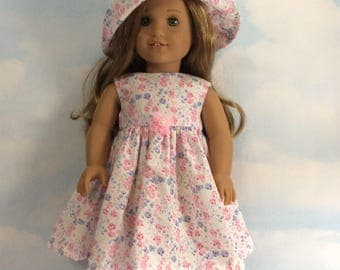 "Pastel sun dress and hat for 18""doll"