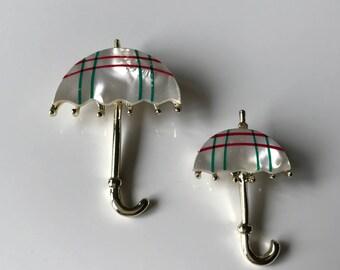 Vintage Mother of Pearl Umbrella Brooch, Set of Two Mother of Pearl Umbrella Parasol Broochs, Tartain Plaid, Spring Brooch