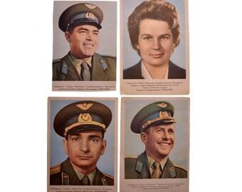 Lot 1, Quantity 4 Vintage Postcards Collection Pilot-Cosmonaut USSR Tereshkova Bykovsky Nikolayev Popovich
