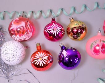 Vintage Set Of 7 Soviet Christmass Colored Balls Christmass Decoration Soviet New Year Decor Blown Glass Mercury 1981