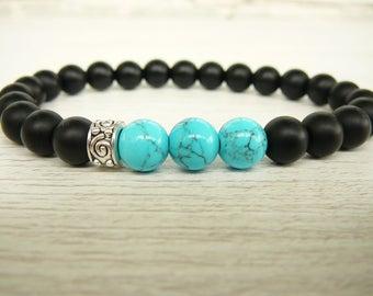 Blue Howlite Turquoise bracelet Black Onyx bracelet for men bead bracelet for mens Stretch bracelet boyfriend beaded bracelet yoga bracelet