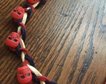 Red White and Blue Suede with Red Skull Choker