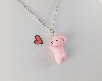 Cute Rabbit Necklace // Polymer Clay Charm // Kawaii Pink Bunny Necklace // Gift for Girlfriend // Gift for Daughter